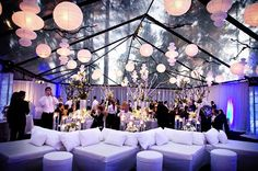 Using the lounge chair rental services to maximize a party at a party with no overhead roof.